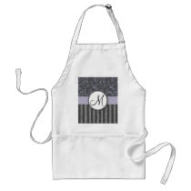 Lavender Grey Floral Wisps & Stripes with Monogram Adult Apron