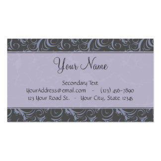 Lavender Grey Floral Wisps & Stripes with Monogram Business Cards