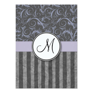 Lavender Grey Floral Wisps & Stripes with Monogram Card