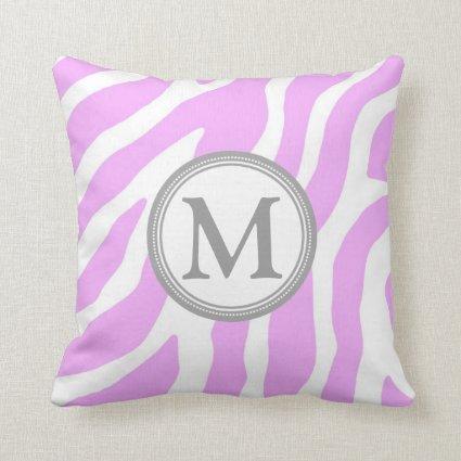 Lavender Grey Zebra Monogram Decorative Pillow