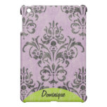 Lavender Grunge Damask and Swirls Pattern Name Case For The iPad Mini