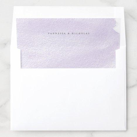Lavender hand-painted Watercolor Wash Envelope Liner