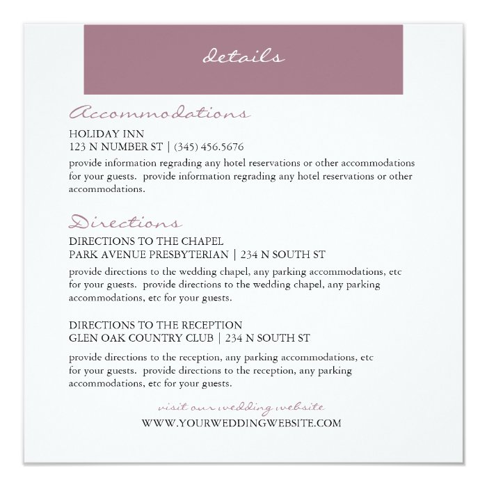 Lavender Handwritten Style Detail Enclosure Card