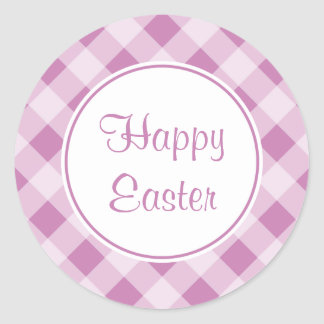 Lavender Happy Easter Gingham Stickers