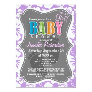 Lavender Hawaiian Tropical Hibiscus 4.5x6.25 Paper Invitation Card
