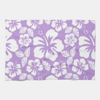 Lavender Hawaiian Tropical Hibiscus Kitchen Towels