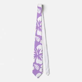 Lavender Hawaiian Tropical Hibiscus Neck Tie