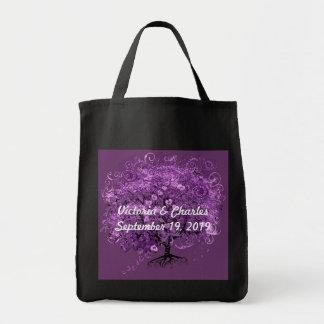 Lavender Heart Leaf Tree Wedding Canvas Bags