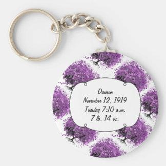 Lavender Heart Leaf Tree Wedding Basic Round Button Keychain