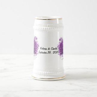 Lavender Heart Leaf Tree Wedding Beer Stein