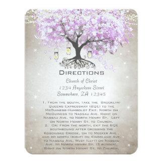Lavender Heart Leaf Tree Wedding Direction Cards