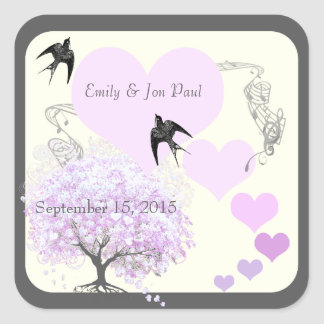 Lavender Heart Leaf Tree Wedding Square Sticker