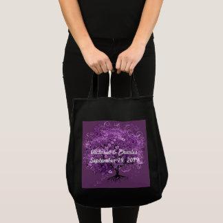 Lavender Heart Leaf Tree Wedding Tote Bag