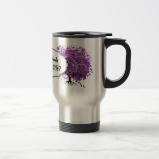 Lavender Heart Leaf Tree Wedding Travel Mug