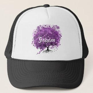 Lavender Heart Leaf Tree Wedding Trucker Hat