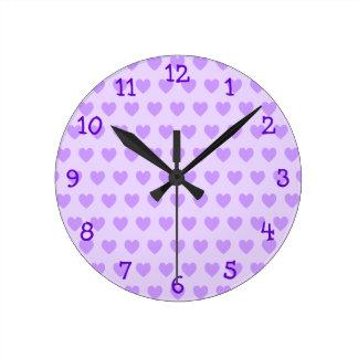 Lavender Heart Pattern Wall Clock