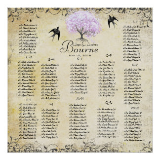 Lavender Heart Tree 100 to 150 guests alphabetical Poster