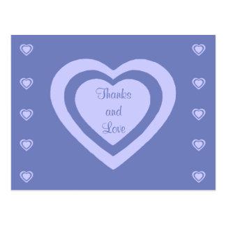 Lavender Hearts Cornflower Blue Wedding Thank You Postcard