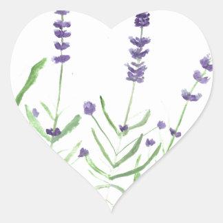 Lavender herb botanical print heart sticker