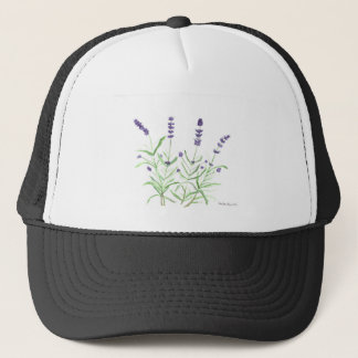 Lavender herb botanical print trucker hat