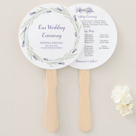 Lavender Herbs and Greenery Wreath Program Fans