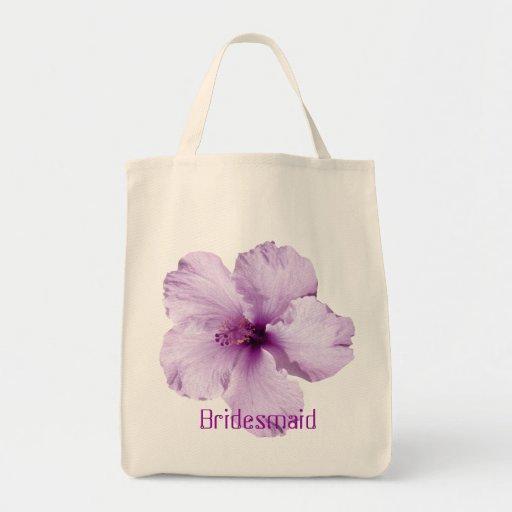 Lavender Hibiscus Flower Bridesmaid Tote Bag