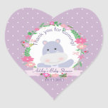 Lavender Hippo Baby Girl Shower Party gift tag