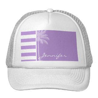 Lavender Horizontal Stripes; Summer Palm Trucker Hats