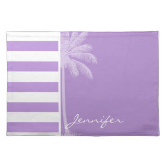 Lavender Horizontal Stripes Summer Palm Place Mats
