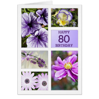 Lavender hues floral 80th birthday card