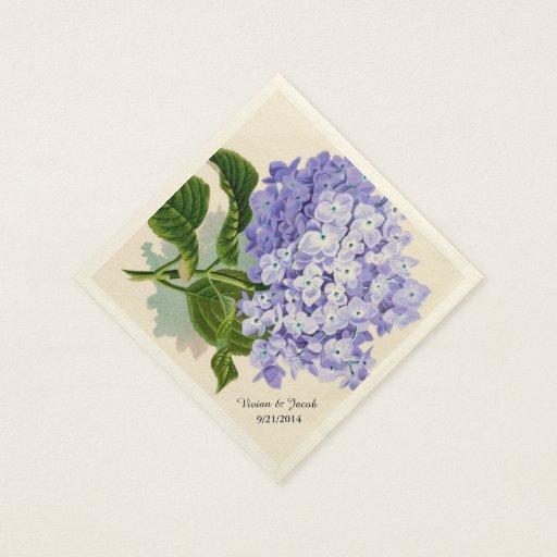 Lavender Hydrangea Custom Wedding Napkins Standard Cocktail Napkin