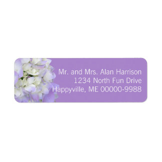 Lavender Hydrangea Floral Return Address Labels