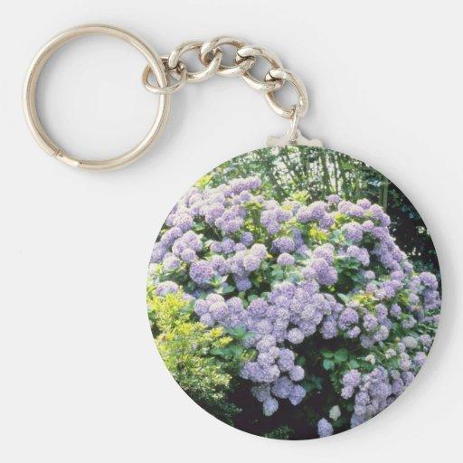 Lavender Hydrangea Macrophylla (blue) flowers Key Chain