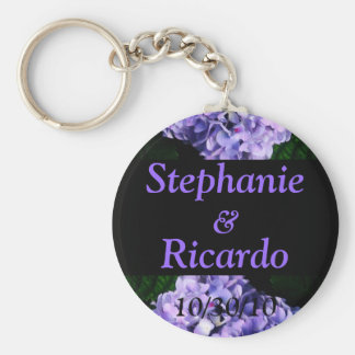 Lavender Hydrangea - Names and Wedding Date Keychain