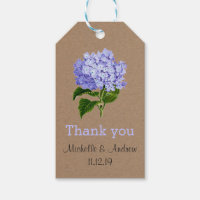 Lavender Hydrangeas Floral Thank You Wedding Gift Tags