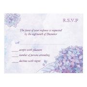 Lavender Hydrangeas Wedding RSVP Cards (4.25x5.6) Post Card