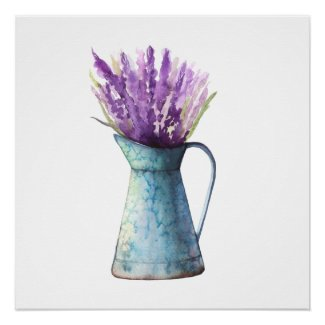Lavender in Water Can Watercolor Poster Print
