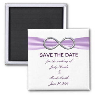 Lavender Infinity Save The Date Magnet 2 Inch Square Magnet