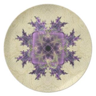 Lavender Ink Blot Melamine Plate
