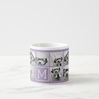 Lavender Instagram Photo Collage Custom Monogram Espresso Cup