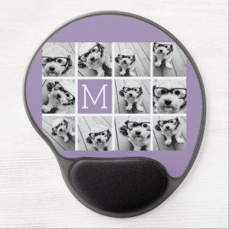 Lavender Instagram Photo Collage Custom Monogram Gel Mouse Pad