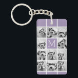 """Lavender Instagram Photo Collage Custom Monogram Keychain<br><div class=""""desc"""">Modern Pastel Purple Lilac - Use 11 square photos to create a unique and personal gift. Or you can keep the hipster puppy and make a trendy keepsake. If you need to adjust the pictures,  click on the customize tool to make changes.</div>"""