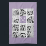 "Lavender Instagram Photo Collage Custom Monogram Kitchen Towel<br><div class=""desc"">Modern Pastel Purple Lilac - Use 11 square photos to create a unique and personal gift. Or you can keep the hipster puppy and make a trendy keepsake. If you need to adjust the pictures,  click on the customize tool to make changes.</div>"