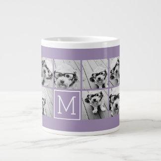 Lavender Instagram Photo Collage Custom Monogram Large Coffee Mug