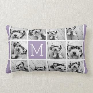 Lavender Instagram Photo Collage Custom Monogram Lumbar Pillow