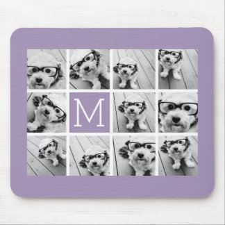 Lavender Instagram Photo Collage Custom Monogram Mouse Pad