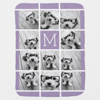Lavender Instagram Photo Collage Custom Monogram Receiving Blankets