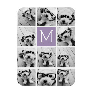 Lavender Instagram Photo Collage Custom Monogram Rectangular Photo Magnet