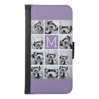 Lavender Instagram Photo Collage Custom Monogram Samsung Galaxy S6 Wallet Case