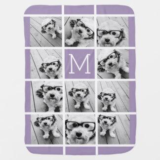 Lavender Instagram Photo Collage Custom Monogram Swaddle Blanket